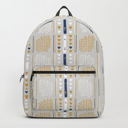 Gray and Brown Memphis Style Geometric Abstract Seamless Vector Pattern Backpack
