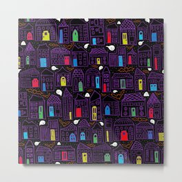 Happy Haunted House City // Colored Doors, Quirky Houses, Smiling Ghosts, and Friendly Bats Metal Print