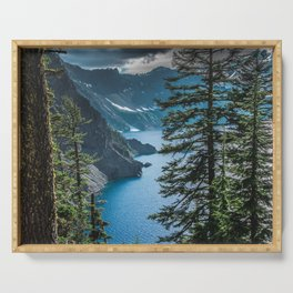 Blue Crater Lake Oregon in Summer Serving Tray