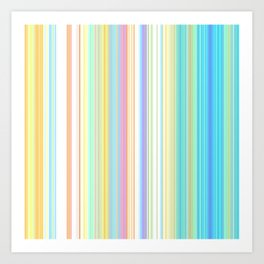 Pastel Rainbow Vertical Stripes Art Print