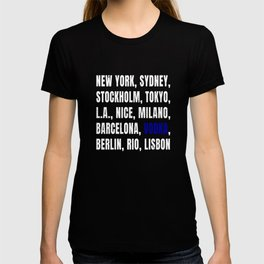 Funny Vodka and Cities print T-shirt