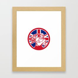 British Cable Installer Union Jack Flag Icon Framed Art Print