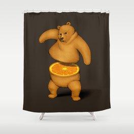 Orange Bear Shower Curtain
