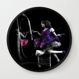 Through The Looking Glass Magenta Purple Wall Clock