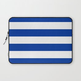 Dark Princess Blue and White Wide Horizontal Cabana Tent Stripe Laptop Sleeve