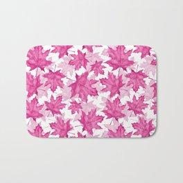 Pink maple leaves Bath Mat