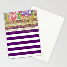Bold Purple Stripes Gold Dust Floral Stationery Cards