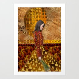 Woman in Red and Gold Art Print