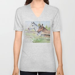 Horses Watercolor Sketch Barn Animals Horse Unisex V-Neck