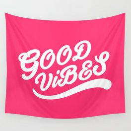 Good Vibes Happy Uplifting Design White And Magenta Wall Tapestry