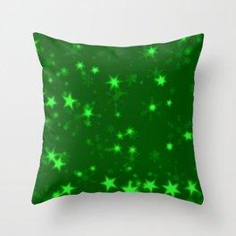 Blurry Stars green Throw Pillow