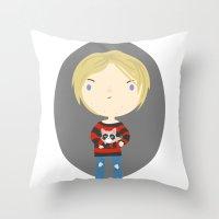 kurt cobain Throw Pillows featuring Cat Cobain by Maria Jose Da Luz