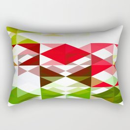 Red Rose with Light 1 Abstract Triangles 1 Rectangular Pillow