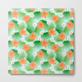 Tropical orange green teal floral palm tree pattern Metal Print