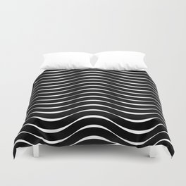 Vector Black and White Thick Wavy Lines Pattern Duvet Cover