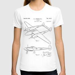 Lockheed P-31 Airplane Patent - Lightning Aircraft Art - Black And White T-shirt