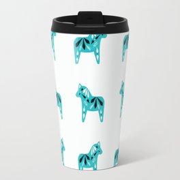 Dala Horse Pattern - Aqua on White Travel Mug