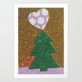 Polka Dotty Tree Love Art Print