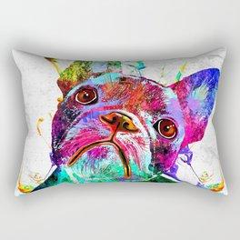 Frenchie Grunge Portrait Rectangular Pillow