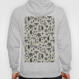 Vintage chic ivory black gray tropical floral Hoody