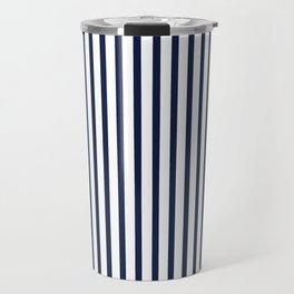 Navy Blue Vertical Stripes Travel Mug