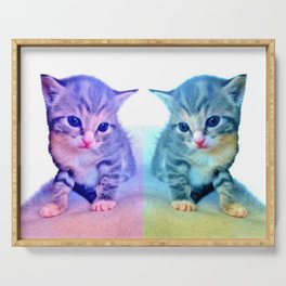 Cute Colorful Cat Couple Serving Tray