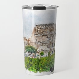 Aquarelle sketch art. View to the Colosseum from the street Travel Mug