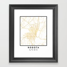 BOGOTA COLOMBIA CITY STREET MAP ART Framed Art Print