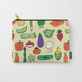 Cute Smiling Happy Veggies on beige background Carry-All Pouch