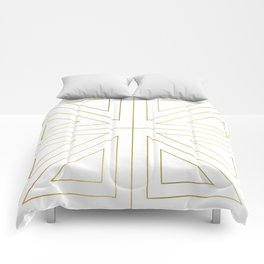 Angled 2 White Gold Comforters