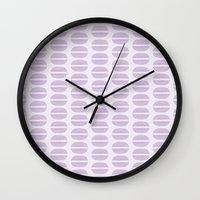macaroon Wall Clocks featuring Purple Macaron Pattern - Lavender Macaroon by French Macaron Art Print and Decor Store