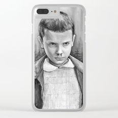 Stranger Things Eleven Watercolor Painting Black and White Clear iPhone Case