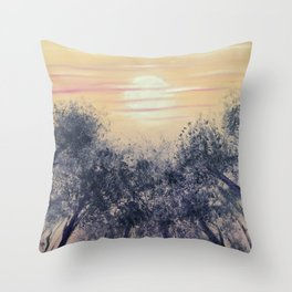 Moon and trees at Dusk Throw Pillow