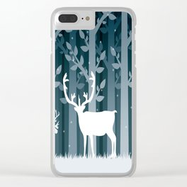 Snow Caribou Clear iPhone Case