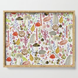 Colorful Autumn woodland animals and foliage pattern Serving Tray