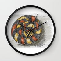 snake Wall Clocks featuring Snake by Michelle Behar
