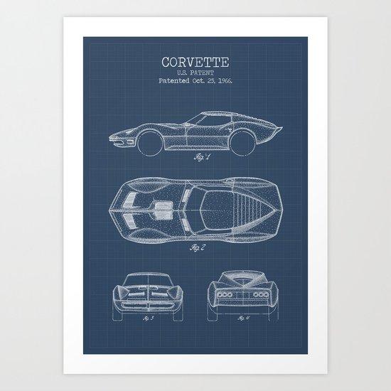 Muscle Car Blueprint Art Print by muharko | Society6