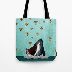 Pizza Shark Print Tote Bag