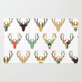 retro deer head white Rug