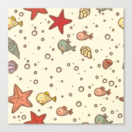 Cute Vintage Style Sea life Seamless Pattern Canvas Print