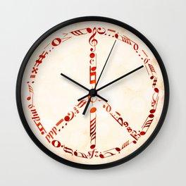 Watercolor music peace Wall Clock