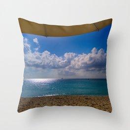 Seaside Under Umbrellas Throw Pillow