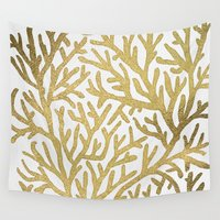 coral Wall Tapestries featuring Gold Coral by Cat Coquillette
