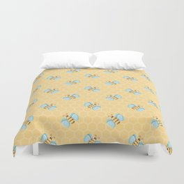 Cute Little Bees Pattern on Honeycomb Background Duvet Cover