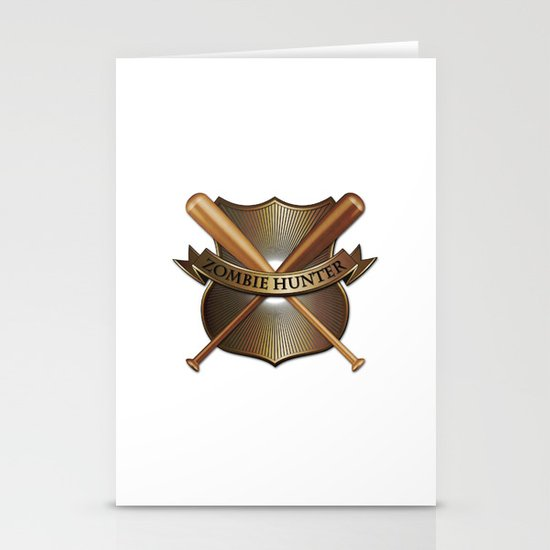 Zombie hunter shield Stationery Cards