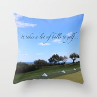 golf Throw Pillows featuring Golf by Rebecca Bear
