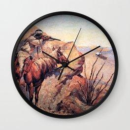 "Frederic Remington Western Art ""Apache Ambush"" Wall Clock"