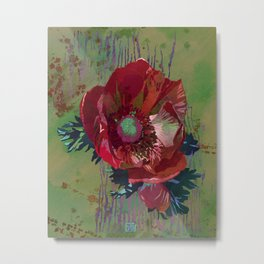 Red Anemone Flower Art | Watercolor Floral Art Print | Red Green Floral Wall Decor Metal Print