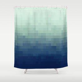 Gradient Pixel Aqua Shower Curtain