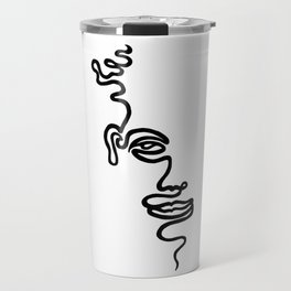 Single Line Face Travel Mug